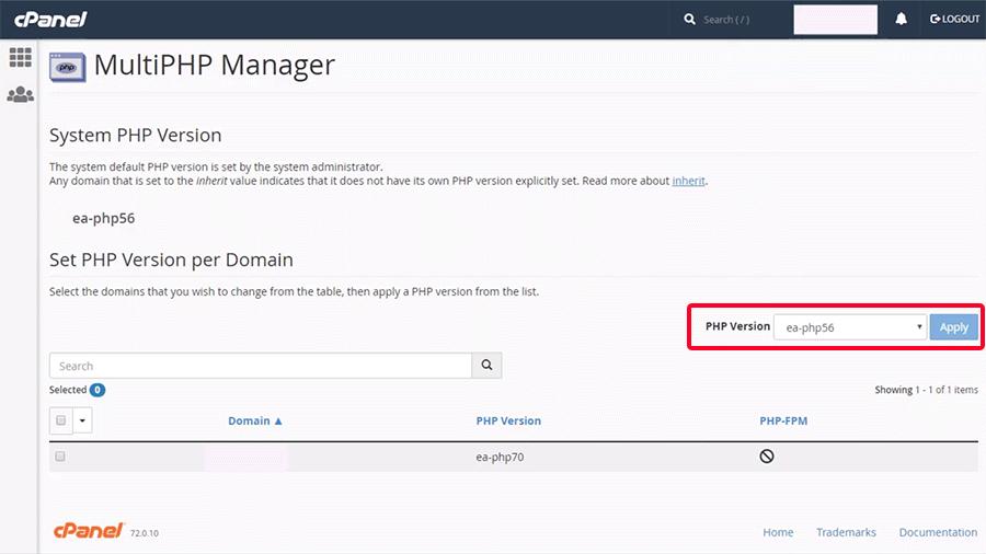تغییر ورژن php در سی پنل
